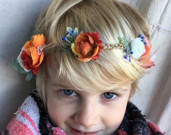 Bohemian Flower Crown, Flower-Child Crown, Bridal Flower Halo, Rustic Flower Girl, Mommy & Me Crowns, Hippie Flower Crown, Boho Crown