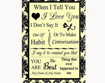Yellow Damask When I Tell You I Love You Personalised Wedding Sign
