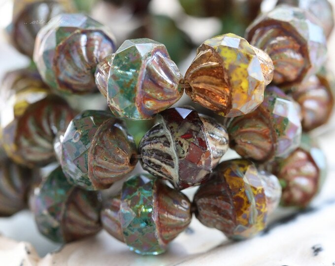 TWISTED MIX .. 10 Picasso Czech Glass Turbine Beads 10x12mm (5118-10)