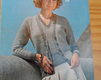 Original vintage knitting pattern for a lady's v-neck twinset in 4 ply wool. Pattern by Wendy in sizes 32 - 36""