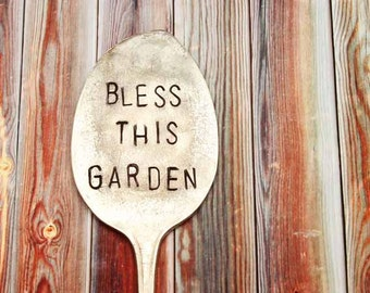 Extra Large Bless This Garden Vintage Spoon Herb Garden Plant Marker - Antique Silver Plated - Hand Stamped - Rustic Decor