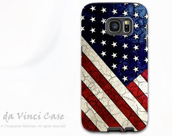 American Flag Case for Samsung Galaxy S7 - Protective Dual Layer Galaxy S 7 Case with USA Flag Art - Stars and Stripes - by Da Vinci Case
