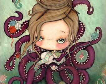 Knitting Octopus Print Nautical Knitter Girl Cute Catfish Seahorse Art---11 x 14 LARGE PRINT