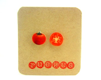 Tomato Stud Earrings, Tomato Jewelry, Post Earrings, Vegetable Jewelry, Veggie Earrings, Miniature Food Jewelry, Vegan