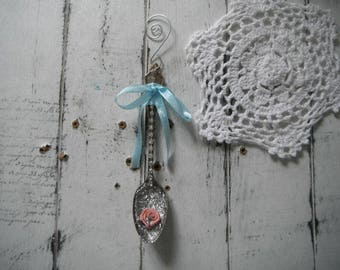 spoon ornament rhinestone spoon christmas decor tree ornament shabby decor cottage chic rose spoon cottage country holiday decor