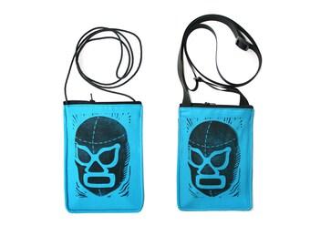 SALE!! Luchador, lucha libre, turquoise, block print, small cross body, vegan leather, zipper top, passport bag
