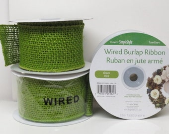 "Wired Burlap Ribbon Green 18 YARDS of Ribbon 2.5"" Wide Holiday Wreath Craft"