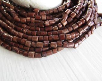 brown tube bone beads, rondelle barrel spacer Bone beads, rough Irregular look,  boho exotic beads 4 to 7mm long  (50 beads) 7bb5-4
