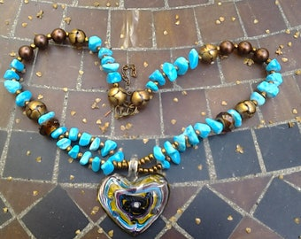 Chunky Turquoise Gemstone Statement Necklace, Bracelet & Earrings Set.. Glass.. Copper..Gemstone Beads...Large Glass Heart Pendant -  N036