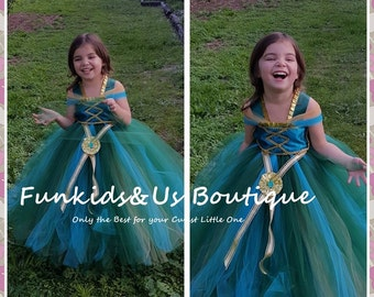 Hunter Green Princess Tutu Dress- Merida Tutu designed by Funkids&Us Boutique- NB to young Teen
