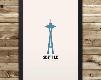 "SEATTLE Minimalist City Poster - 12"" x 18"""
