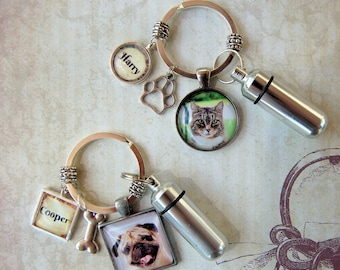 2 Pet Memorial Key Chains with Custom Photo and Cremation Urn, Loss of Cat, Loss of Dog Memorial and Remains Vial,  Ash Container