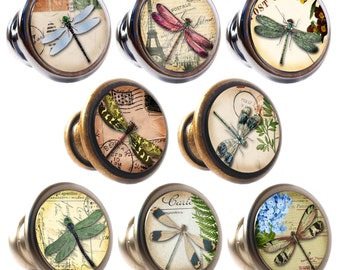 Dragonflies Decorated Zinc Alloy 30mm Drawer Cupboard Cabinet Knobs