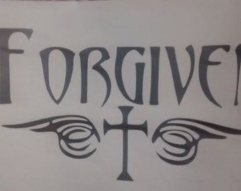 Forgiven Window Decal/Christian Window Decal/ Forgiven / Cross Decal