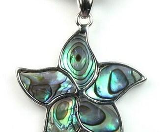 Abalone shell pendant, paua abalone shell necklace, sea shell pendant, paua shell copper pendant, star abalone necklace, SH1625-AP