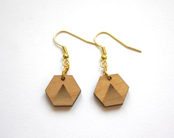 Wood earrings hexagon shape, triangle, modern minimal chic graphic geometric, Art Deco style inspiration, gold color, made in France Paris