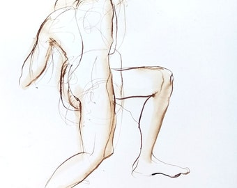 Original Figure Drawing - Female Nude on One Knee Twisting Away - Pen and Ink Drawing - Figurative Unframed Wall Art