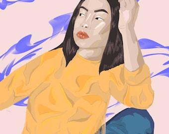 Digital Art Hippie Style Print
