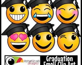 Graduation Clip Art: Emoji Faces, Graduation Emoji Clip Art, Emoji Clip Art