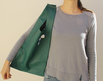 Shopping bag « Sac-Poche », handbag green ostrich leather - made in France