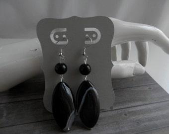 Noir et argent boucles d'oreilles cristal métal et Pierre boucles d'oreilles