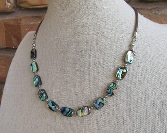 Necklace made with Abalone (Paua) Shell Beads and Distressed Indian Leather Cord