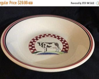 ON SALE Century CONSTANCE Stoneware Large Salad Serving Bowl Dinnerware Cow  in Center on Hill Red & White Checks Near Mint Condition