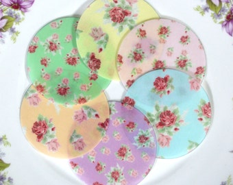 Edible Cottage Chic Rose Floral Chintz Mix Colours Wafers Rice Paper - Summer Flower Wedding Spring Cake Decorations Cupcake Cookies Toppers