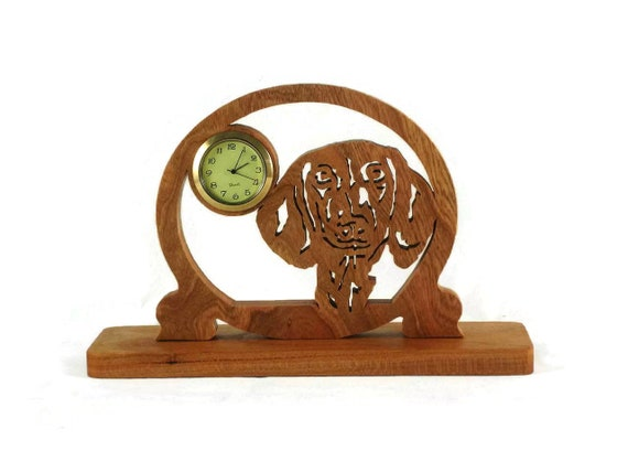 Dachshund Mini Desk Or Shelf Clock Handmade From Cherry Wood