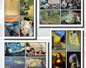Famous Paintings and Artists Printables, POSTCARD SIZE,  (3.5 x 5 Inch  or 12.7 x 8.8 cm), 16 Total