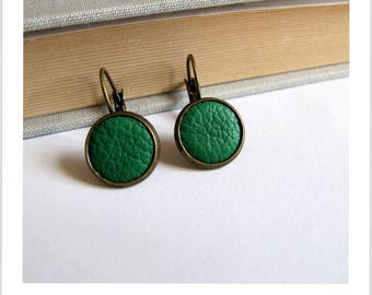 Earrings sleepers fabric grass green leather