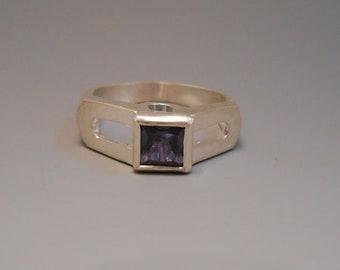 Alexandrite Created Recycled Gemstone Sterling Silver Ring June Birthstone