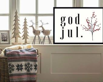 God Jul,Juldekoration,Swedish Wall Art,Swedish Decor,Svenska,Swedish Christmas Decor