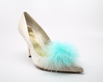 Detachable Feather Puff Pom Pom Shoe Clips  Set of Two Aqua Blue