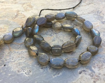 Labradorite Oval Beads, Blue Flash, labradorite Ovals, 10 to 12mm, 13 inch strand