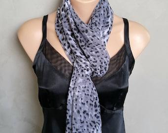 Black Scarf, Cheetah Print Scarf, Gray Scarves, Black Scarves, Long Black Scarf, Cheetah Scarves, Gray Scarf Wrap, Black Wrap Scarf, Chiffon