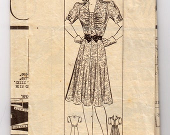1940s Marian Martin 9724 One-Piece Dress With Gathered Bodice - Size 16 Bust 34 - Vintage Sewing Pattern