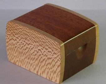 Wooden Ring/Button/Trinket Box - London Plane & Reclaimed Mahogany
