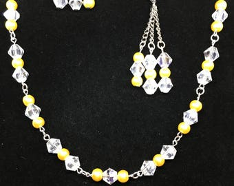 Yellow Crystal Necklace and earring set adjustable