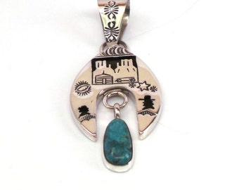 Handmade Native American Navajo Sterling Silver Turquoise Pendant