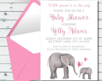 Pink Elephant Baby Shower Invite, Elephant Baby Shower Invitation, Little Peanut Invite, Baby Shower Invitation In Pink And Gray