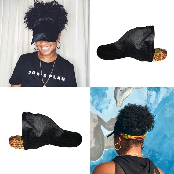 Natural Hair Hats, Black Velour dad hat, Protective Styles Hats, Wakanda, African Kente Cloth Fabrics, Afro Hair Care, Kinky Curly Hair