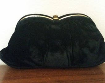 Glam Black Velvet Clutch