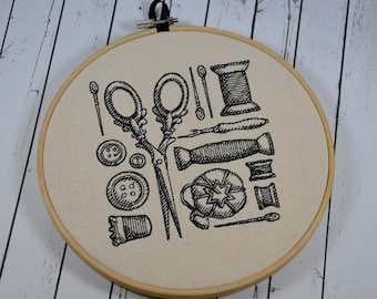 Sewing Room Wall Embroidered Art,  Craft Room Decor