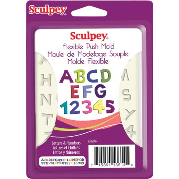 Letters and numbers push mold by sculpey Alphabet molds give dimension to your projects