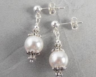 Small White Pearl Dangles, Bridal Earrings, Pearl Earrings, Victorian Style Pearl Jewelry Sets, 8mm Pearl Brides Earrings, Post Earrings