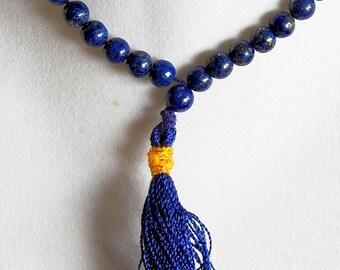 Handmade Solid Blue LAPIS LAZULI Crystal JAPA Mala Necklace, 108 Prayer Beads, With Velvet Pouch