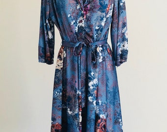 Vintage Floral Shirt Dress Tie Waist MOD New Wave Hipster Size 20