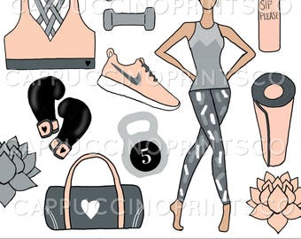 Get Fit - Clipart - Digital Download - Hand Drawn Clipart
