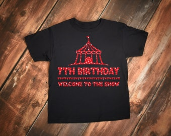 Cute Circus Theme 7th Birthday Quote Party Celebration  Youth Short Sleeve T-Shirt